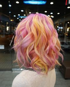 Light Pink and yellow hair. Looks like sherbet. Light Pink and yellow hair. Looks like sherbet. Hair Color Pink, Cool Hair Color, Yellow Hair Dye, Orange And Pink Hair, Ombre Colour, Yellow Nails, Pelo Multicolor, Coiffure Hair, Coloured Hair