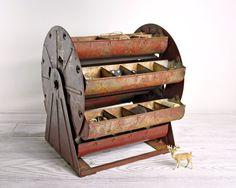 Vintage Metal Carousel Parts Bin / Metal Organizer / Industrial Storage