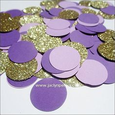 Purple, lavender and gold glitter confetti will add sparkle to your wedding or party decor! Sprinkle on guest, cake or dessert tables at your purple theme event. We hand punch each piece from the high