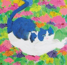 Walasse Ting (American/Chinese, 1929–2010) - 猫咪 (Cat and flowers)