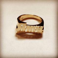 14K Gold Large Script Name Ring w/Tail #namering #ring #personalized