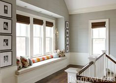 Second-floor landing. Lovely New England Summer Home with Neutral Palette | Traditional Home