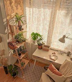 Aesthetic Light, Plant Aesthetic, Aesthetic Grunge, Boho Aesthetic, Aesthetic Vintage, Small Room Bedroom, Home Bedroom, Bedroom Ideas, Small Rooms
