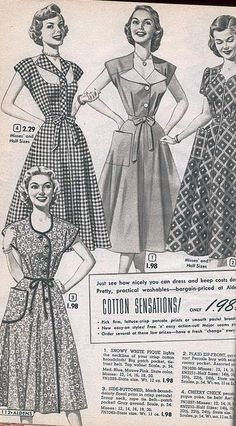 1950s Dresses: From a 1953 catalog #vintage #fashion #1950s #dresses