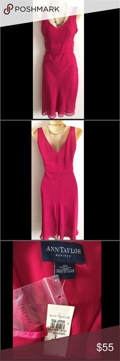 Ann Taylor Dress Beautiful fuchsia colored dress. Size 4 Petite. V-neck. Chiffon fabric. Layering pleats around waistline. Buttons and zipper up one side. Romantic style with flowy bottom. Very feminine! New with tags Ann Taylor Dresses Midi
