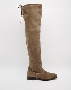ALDO | ALDO Barra Taupe Suede Flat Over The Knee Boots at ASOS
