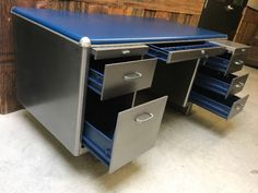 for those seeking that vintage industrial vibe. desks chairs and cabinets from the 50's & 60's, all retro steel. refinished top to bottom using commercial materials and methods. original finishes are removed, surfaces are painstakingly sanded to create a clean and consistent look before specialty lacquers are applied. drop by the studio any time to see my ever changing stoc