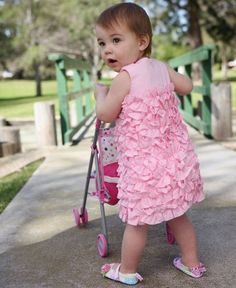 Ruffle Butts Pink Woven Ruffle Dress