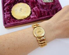 Antique 12k TRI Rose Gold GF Sweetheart Expansion Bracelet Compact BOX SET MK…