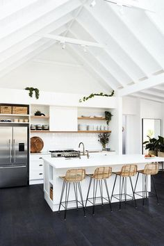 White kitchen design sure is a timeless design. They are clean, bright, and best of all, there is no need to spend your energy on color decisions. However, a white kitchen can be boring too if the… Continue Reading → Sweet Home, Modern Farmhouse Kitchens, Farmhouse Decor, Farmhouse Style, Farmhouse Design, Kitchen Modern, White Farmhouse, Minimal Kitchen, Minimalistic Kitchen