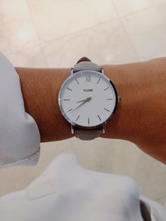 Cluse watch Minuit silver white/grey