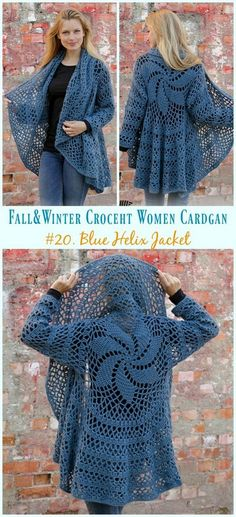 & Winter Women Cardigan Free Crochet Patterns Blue Helix Jacket Crochet Free Pattern - Fall & Winter Women Free PatternsHelix (disambiguation) A helix is a spiral-like space curve. Helix may also refer to: Crochet Patterns Free Women, Crochet Shawl Free, Crochet Motifs, Knitting Patterns, Crochet Hats, Crochet Shrugs, Sewing Patterns, Clothes Patterns, Crochet Sweaters