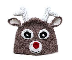 SALE Crochet Christmas Baby Reindeer Hat, Baby Deer Hat, Newborn Reindeer Hat, Baby Rudolph Winter Christmas Hat, Christmas Photo Prop