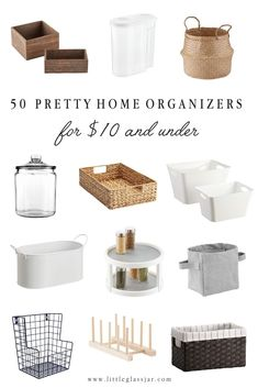 50 Pretty Home Organizers 10 and Under Little Glass Jar Home Organisation, Pantry Organization, Pantry Storage Containers, Home Decor Accessories, Decorative Accessories, Styles Of Home Decor, Kitchen Accessories, Sweet Home, Vintage Inspiriert