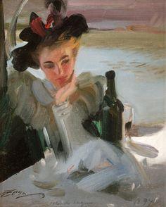 Dam vid Café, Isle de Seguin / Women in the cafe, Isle de Seguin, 1894, Anders Zorn. Swedish (1860 - 1920
