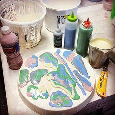 #process #coloredcastingslip #inprogress #testing #ceramics #plaster #pressmold #design #hmaemaeceramics #progress #watershedcenterfortheceramicarts