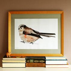 Longtailed Tit Poster  Illustration by by RebeccaKiffGallery, £16.50