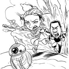 """""""Repost of my Rey and Finn on the run drawing from last night. I was going too fast and made Rey's run wrong (the leg positions) in the last post- fixed it…"""""""