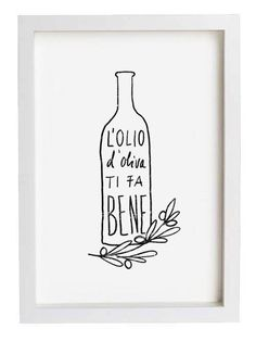 L'OLIO Art for Kitchen, Italian Olive Oil Print / Reproduction From Original Illustration by Anek, $30