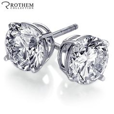 These High Quality Solid White Gold Diamond Stud Earrings with Screw Back for Pierced Ears, feature 2 Sparkling Rothem certified D color and clarity Real and Rare Natural Earth Mined Conflict Free Round Brilliant Cut Diamonds totaling carat. White Gold Diamonds, Round Diamonds, Lab Created Diamonds, Round Earrings, Pierced Earrings, Stud Earring, Gold Studs, Diamond Jewelry, Diamond Earrings