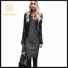 Charming Winter Autumn Style Casual Dresses Charming Winter Autumn Style Casual Dresses O-neck Long-sleeved Sheath Solid Color Warm Gray Dress. Cotton and polyester material. Knee length and is brand new never been worn Dresses Long Sleeve