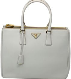 96235babfeee Prada Double Lux Saffiano Large Zip Tote Chalk Leather Satchel - Tradesy  Leather Satchel, Prada