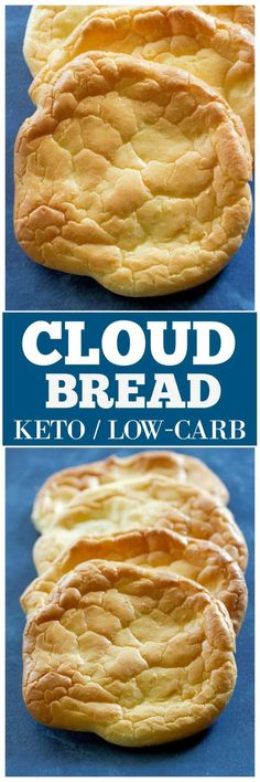 This Cloud Bread recipe is a soft and fluffy bread that is gluten-free, low-carb, Keto friendly, and grain free. Less than one carb per serving! Gluten Free Recipes, Bread Recipes, Low Carb Recipes, Cooking Recipes, Healthy Recipes, Ww Recipes, Ketogenic Recipes, Eat Healthy, Diabetic Recipes