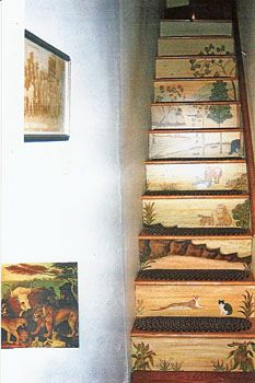 Looooveee it! - Hope R. Angier - Fireboards, Theorem Paintings, Wallhangings, and Murals - Stair Riser Murals Painted Stair Risers, Painted Staircases, Spiral Staircases, Stair Steps, Stair Railing, Railings, Painted Floors, Painted Furniture, Stair Makeover