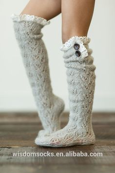 Knit Patterned Knee High Button Lace Boot Socks, View lace boot sock