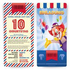 Einladung Für Kinder   Zirkus Ticket #geburtstag #einladung  #geburtstagseinladung #kindergeburtstag #zirkus