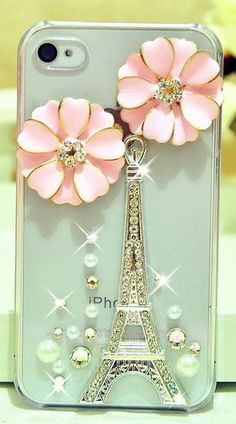 Eiffel tower + pink flowers iphone case