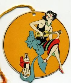Woman w/Guitar & Singing Dog Art Deco Bridge Tally Card Fashion Illustration Collage, Illustration Art, Playing Card Crafts, Art Deco Cards, Old School Tattoo Designs, Art Deco Posters, Vintage Book Covers, Art Deco Design, Dog Art