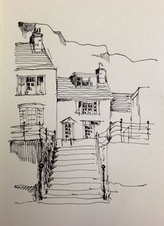 Sketch Book Harbour front cottages in Staithes, North Yorkshire: this is my original line sketch Landscape Sketch, Landscape Drawings, Architecture Drawings, Art Sketches, Art Drawings, Tumblr Sketches, Simple Sketches, Pencil Drawings, Line Sketch