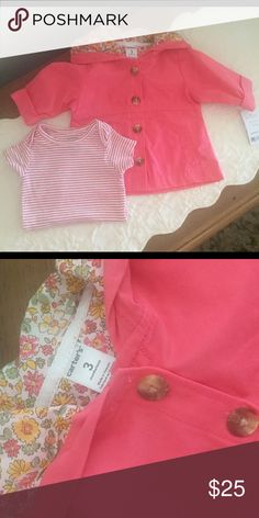 NWT Carters Jacket and Onesie This gorgeous jacket got passed my daughter with the tag still in tact. Great Color. Both items are Carters. 3 Months Carter's Jackets & Coats