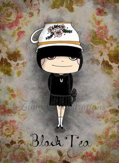 This reminds me of my daughter!  No wonder I love black tea!  Black Tea Girl By Zime Illustrations