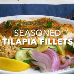 Seasoned Tilapia Fillets – Top Of The World Tilapia Fillet Recipe, Tilapia Fish Recipes, Salmon Recipes, Baked Tilapia Fillets, Easy Healthy Dinners, Easy Dinner Recipes, Healthy Recipes, Baked Tilapia Recipes Healthy, Seafood Dishes