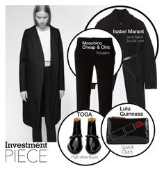 """Investment Pieces Black"" by linea-prima ❤ liked on Polyvore featuring Isabel Marant, Cushnie Et Ochs, Boutique Moschino, Toga and Lulu Guinness"