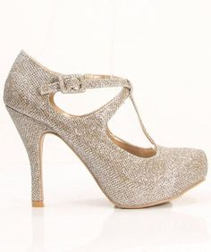 2e3f1c7b68e3 Qupid Sassy T-strap Pumps Champagne Glitter Heel measures approximately  Platform measures approximately Fit  True to size. Lace for Style · Wedding  Shoes