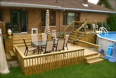 3 tiered deck with above ground pool deck