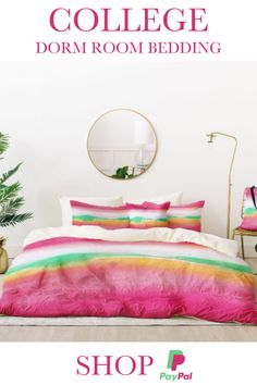 Available in Twin XL - shop this colorful bedding set for your college dorm room. Take 20% off using code HAPPY