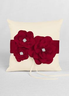 Shiffon Coral Flower And Crystals Ring Bearer Pillow Ready To Ship Small Rustic Burlap Blue Lace