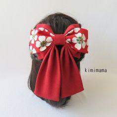 髪飾り 縮緬 Wリボンはいからさん(桜&深赤)着物・袴・浴衣・卒業式      の画像3枚目