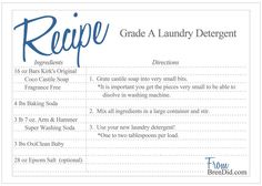 Natural Homemade Laundry Detergent - Bren Did Homemade Cleaning Products, Cleaning Recipes, Natural Cleaning Products, Cleaning Hacks, Cleaning Supplies, Laundry Detergent Recipe, Homemade Detergent, Cleaners Homemade, Household Cleaners