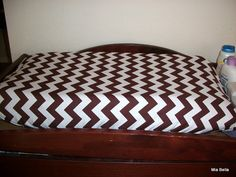 Brown White Chevron Changing Pad Cover by MiaBellaBella on Etsy, $24.00