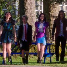 Descendants  (Starting from the left): Evie [sofia carson], Carlos De Vil [Cameron Boyce], Mal [Dove Cameron], Jay [BooBoo Stuart]