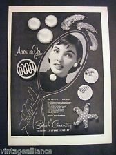 """Vintage 1955 Sarah Coventry """"Pin is in"""" Pretty Girl Wearing Jewelry 50s Print Ad"""