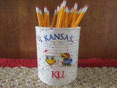 KANSAS JAYHAWKS Recycled Can Holder/Pencils/Pens/Brush/Money/Candy/Flower/Gift Holder by KreationsGalore on Etsy