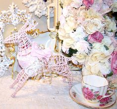 pink shabby chic things | Shabby Chic Rose Pink White Reindeer Christmas Rose Table Decor French ...