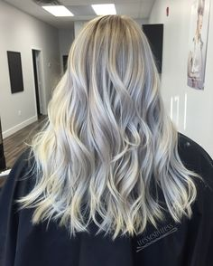 Icy blonde white balayage