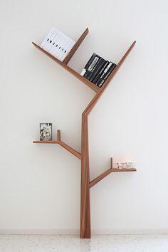 Creative Tree Bookshelf Designs Offering Natural Look : Minimalist SpaceSaving Solid Wood Tree Shaped Bookshelf Design Inspiration in White Themed Home Interior Design Tree Bookshelf, Unique Bookshelves, Modern Bookcase, Bookshelf Design, Bookshelf Ideas, Tree Shelf, Simple Bookshelf, Bookcase Decorating, Tree Book Shelves